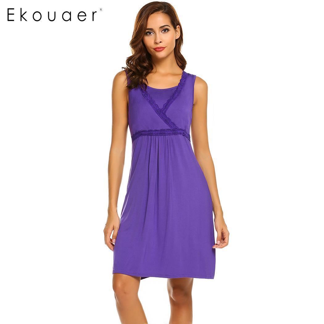 Ekouaer Sleepwear Dress Women Breastfeeding Nightwear Sleepshirts Sleeveless Maternity Nursing Women Nightgown Night Dress