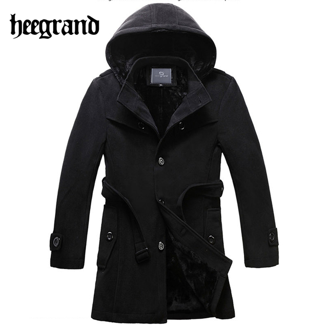 HEE GRAND 2017 Man Thicken Trench Coat Winter Korean Style Slim Hooded Belt Jacket Fashion Leisure Masculine Warm Coats MWN257
