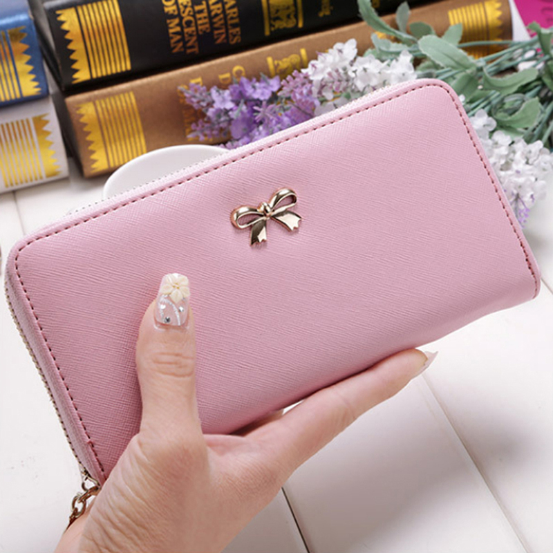 Cards Holder Wallet Ladies Cute Bowknot Women Long Wallet Pure Color Clutch Bag 2019 New PU Leather Purse Phone Card Holder Bag(China)