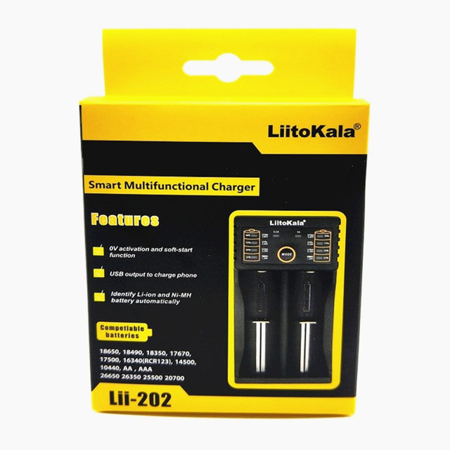 LiitoKala Lii 202 Smart Battery Charger with USB Power Bank Function for Ni MH Lithium battery for 18650 26650 18350 14500 Liito