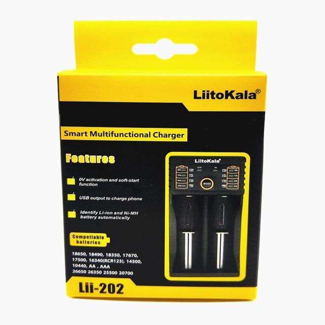 Liitokala engineer Lii 202 Thông Minh Pin Sạc với USB Chức Năng Ngân Hàng Điện cho Ni Mh Lithium pin cho 18650 26650 18350 14500 Liito