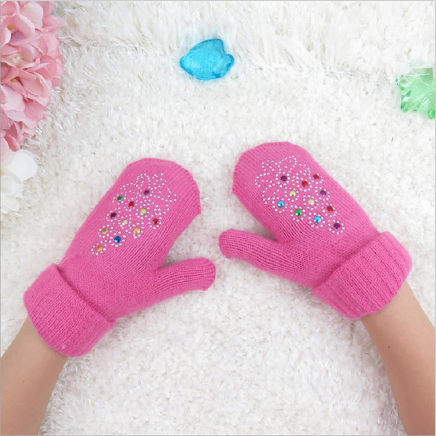 Top popular children girl fingerless glove knitted mittens wrist length 15cm by width 8cm solid color diamond mounted 91040