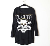 Hot Sale 2014 New Winter Women S Europe Mix Street Sanding Skull Bat Long Sleeved T