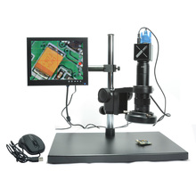 Wholesale prices Full HD VGA Microscope Camera 1080P Microscope Industrial Camera + 180X C-mount Lens + 8″ Inch LCD Screen + Stand Holder