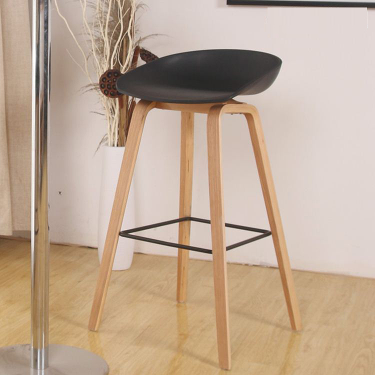 Minimalist Modern Design Solid Wood Pp Plastic Bar Chair Northern Wind  Fashion Creative Counter Stool Popular Furniture In Bar Chairs From  Furniture On ...