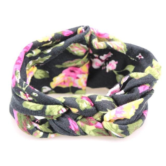 Lovely Flower Printed Cloth Hair Band for Child Turban Knot Cross Headband Headwear Hair Accessories 1