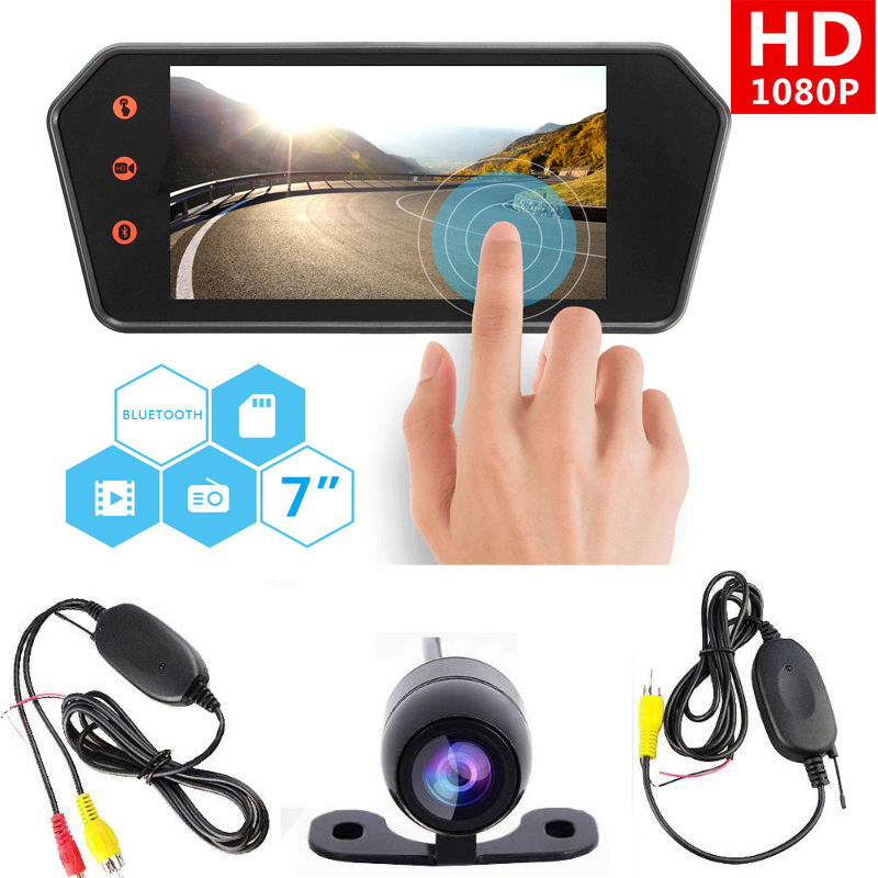 7 inch 1080p Car TFT Monitor Mirror with Bluetooth MP5 & 2.4G Wireless CCD Rear view Reversing camera Backup Parking camera kit