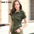 Freearmy Brand Summer Style Women T Shirt Army Green Plain Shirt Women Cotton Casual Tee Shirt Big Size New Design Gs-8398A