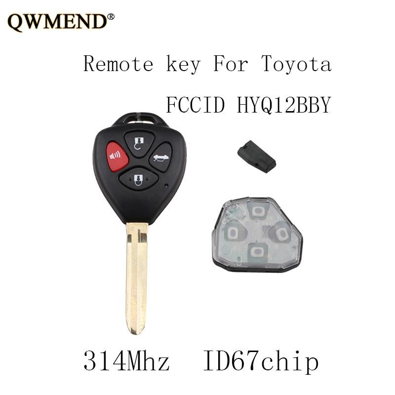 QWMEND Car-Remote-Key-Fob Keys 4d67-Chip HYQ12BBY 2009 2008 Toyota 2007 Original 4buttons