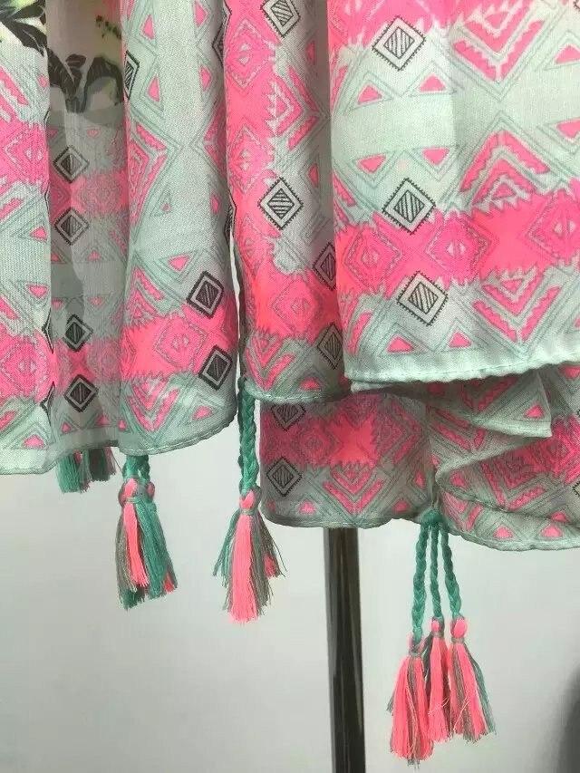 Новейший популярный розовый шарф с принтом листьев женский геометрический вискозный шарф с кисточками 5 шт./партия