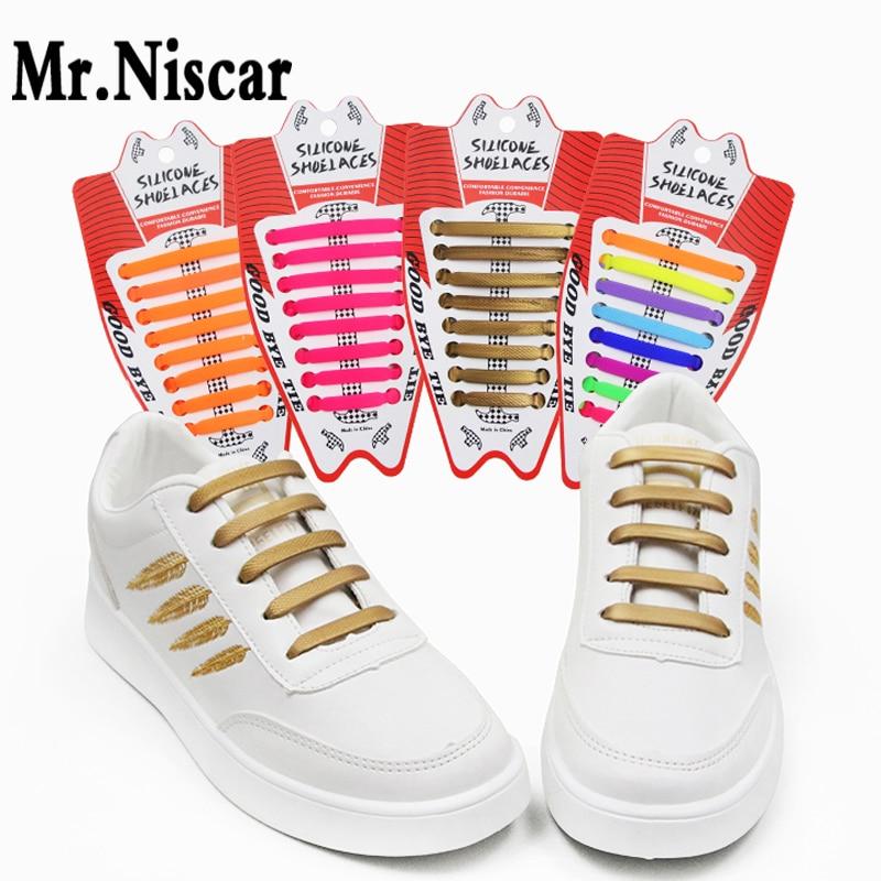 Mr.Niscar 1 Set/16 Pcs 2018 New Arrival Hammer Shape Silicone Shoelaces Creative Patents Lazy No Tie Shoe Laces Elastic
