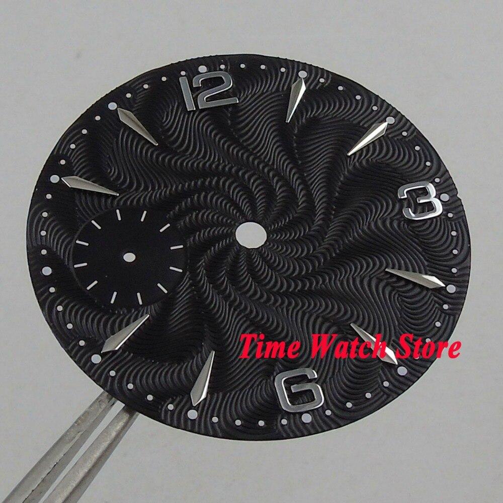 36.8mm black dial fit mechanical ETA 6497 movement Watch dial silver marks D13036.8mm black dial fit mechanical ETA 6497 movement Watch dial silver marks D130