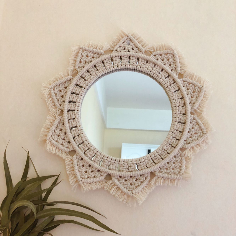 Image 3 - Macrame Tapestry Wall Hanging  Decorative Mirror  Bohemia Creative Home Art Wall Decorations Boho Decor Home-in Tapestry from Home & Garden