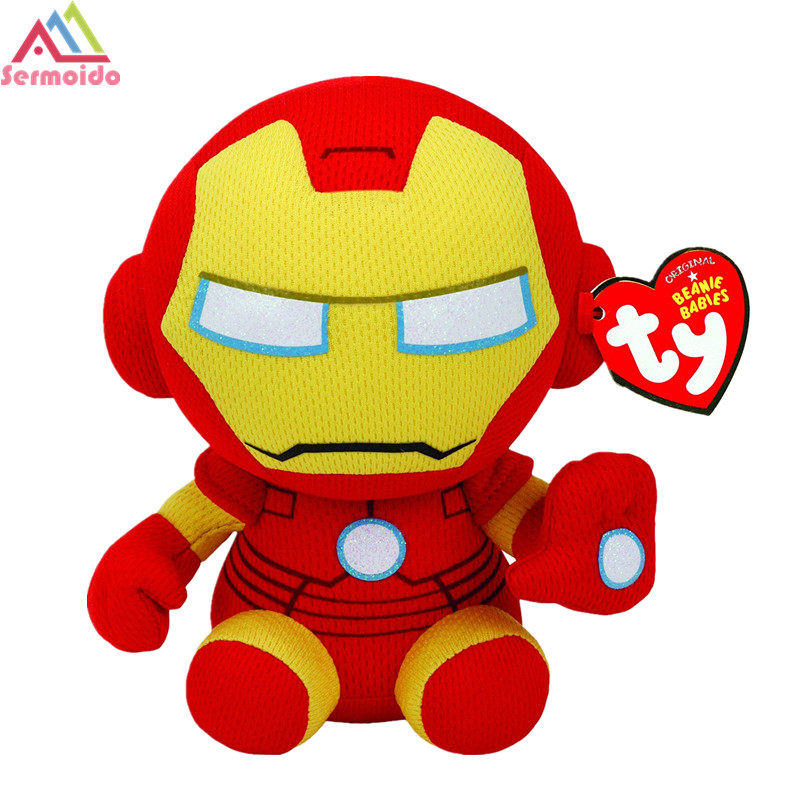 sermoido TY 6 Marvel Iron Man Beanie Boos Yellow/Red Ironman Plush Regular Stuffed Anima ...