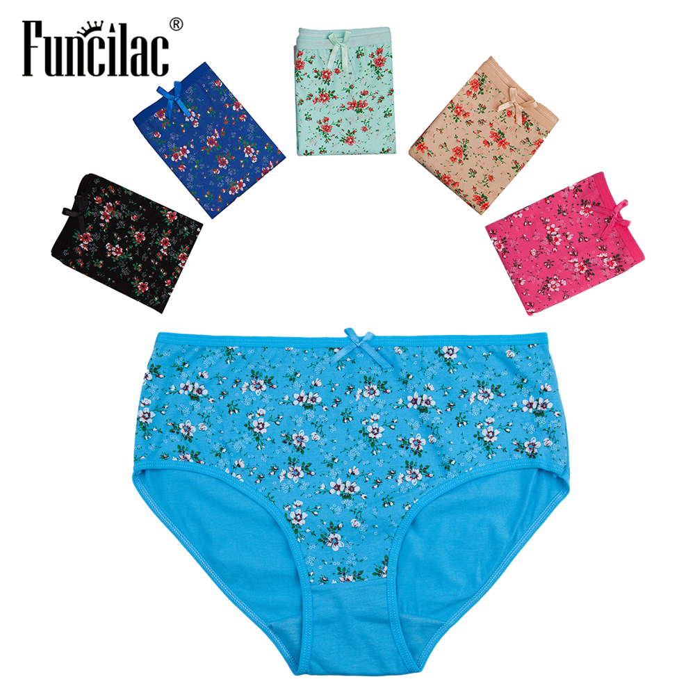 Plus Size Women's   Panties   Sexy Female Underwear Floral Print Girls Briefs Lace Intimates for Women Ladies 5 Pcs/Lot FUNCILAC