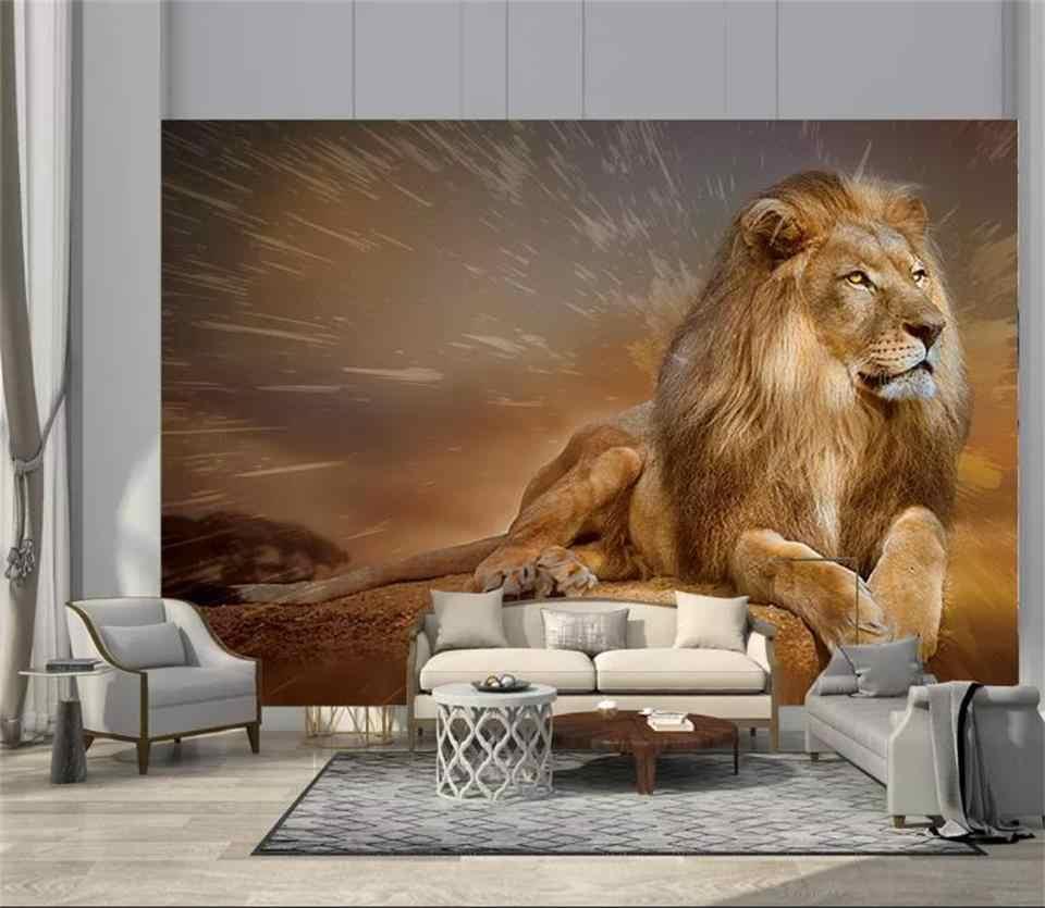 Nach wandbild 9d foto tapete golden lion 9d bild foto wohnzimmer