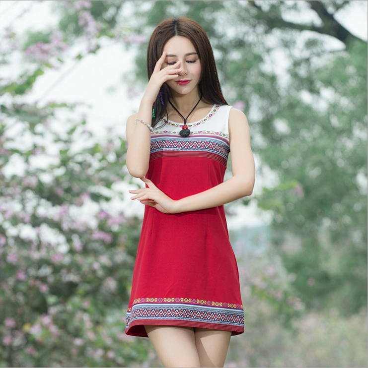 gentle house 2017 new culture of retro national wind Slim was thin dress female