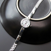 925 Pure Silver Simple Watch Fashion Retro Lady Silver Chain Gift (Removable)