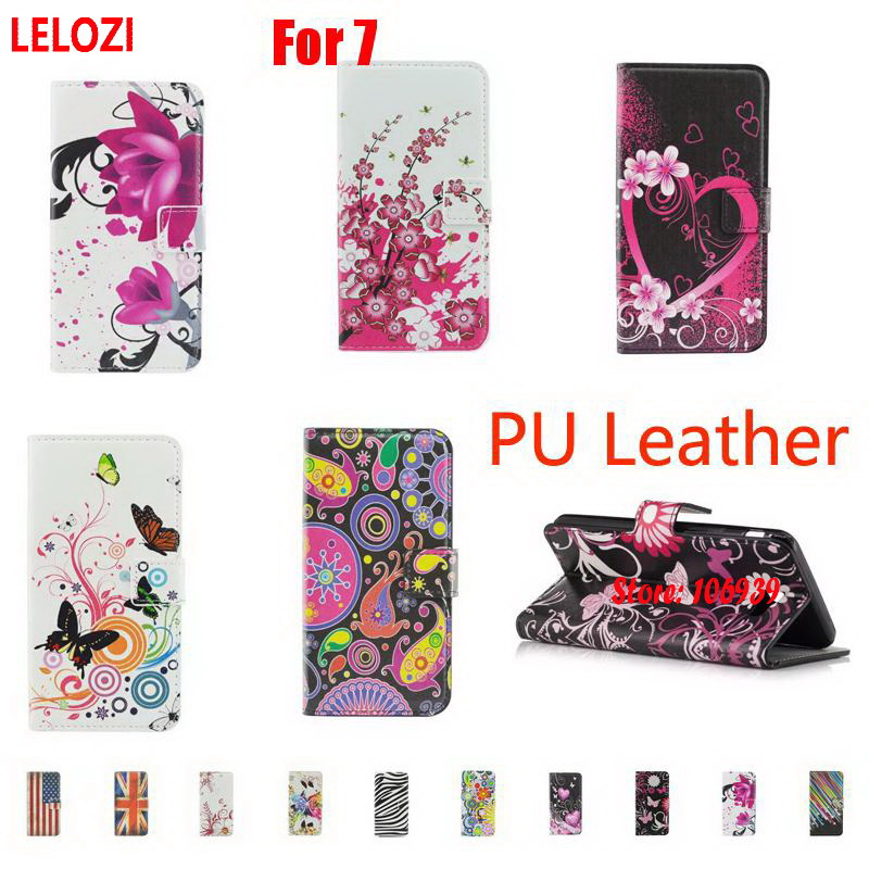 LELOZI Painted PU Leather Book Flip Wallet Case Capinha Caso For iPhone 7 4.7 Black Jellyfish Flag Deluxe Cute Heart Fashion