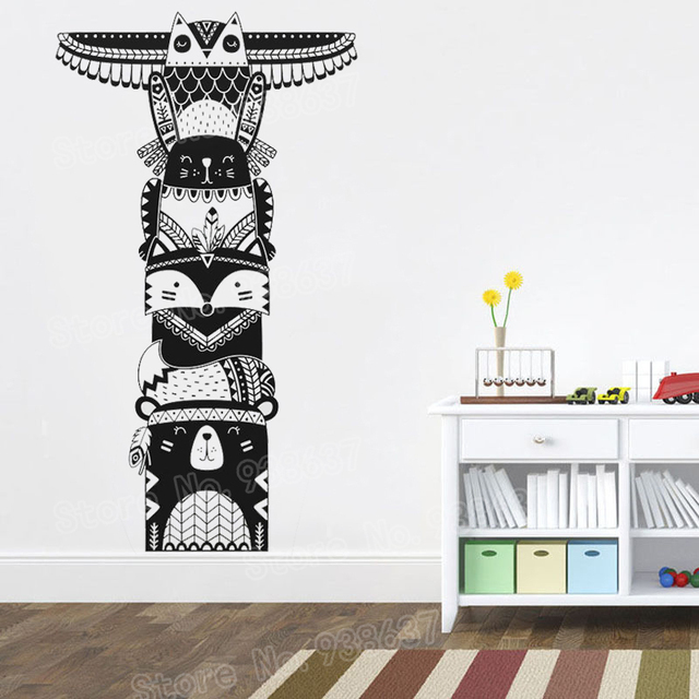 Totem Pole Wall Stickers Woodland Animal Tribal Decal For Baby Children Bedroom Removable Room Decor Mural New Arrival La998
