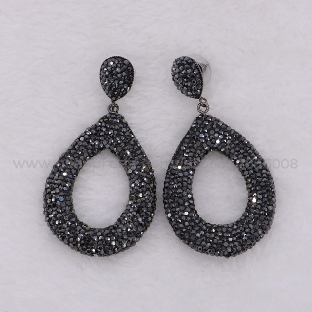 Fashion Hollow Drop Dangle Earrings Black Rhinestone Party Jewelry Gift For S Whole