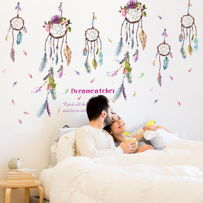 dream catcher feathers wall stickers for living room decoration diy home decals mural art. Black Bedroom Furniture Sets. Home Design Ideas