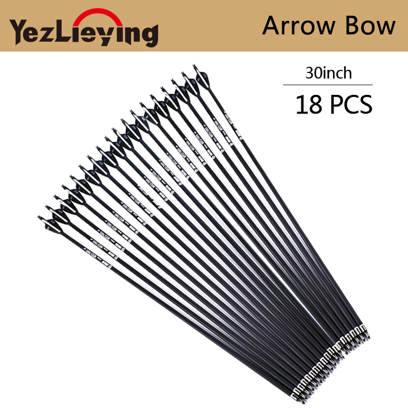 18PCS Mixed Carbon Arrow Length 30 Inch Spine 500 Black