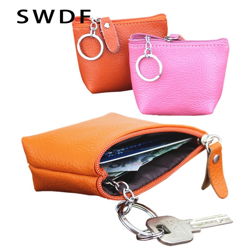 Genuine Leather Coin Purse Leather Zipper Coin Pouch Men Women Coin Wallet Change Pocket Leather Key Bag monederos mujer monedas лак для ногтей domix green professional капля сушка 75 мл