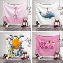 Digital Print Tapestry Wall Blanket Beach Towel Pink Cartoon.Tapestry Colored Printed Decorative Mandala Tapestry Indian