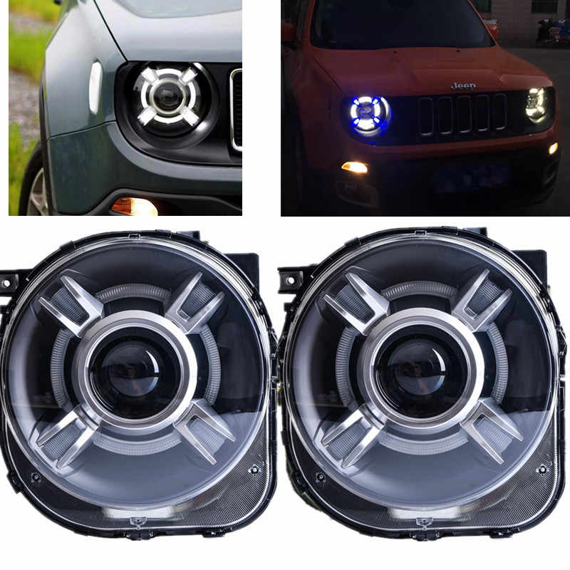 LED Proyektor dengan DRL & Bi-xenon HID Headlight Lens Untuk JEEp Renegade xenon Led Light Headlight Headlamp 2015 2016 2017