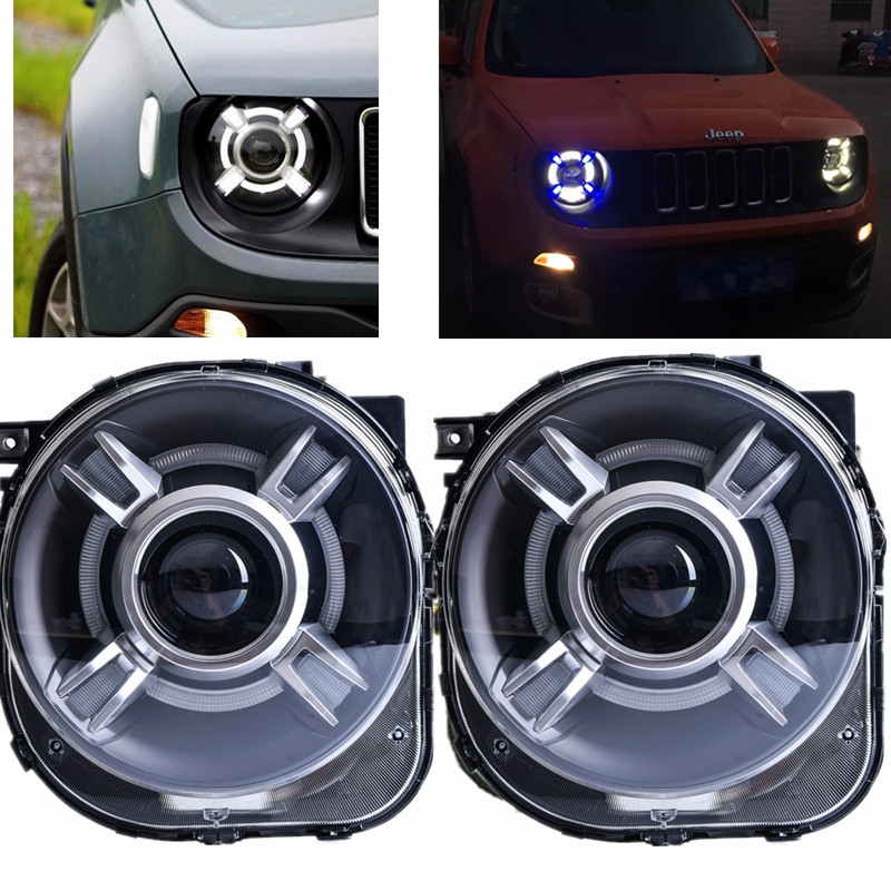 LED HID Headlight Projector with DRL & Bi-Xenon Lens For JEEp Renegade xenon Led Light Headlight Headlamp 2015 2016 2017 hireno headlamp for hodna fit jazz 2014 2015 2016 headlight headlight assembly led drl angel lens double beam hid xenon 2pcs