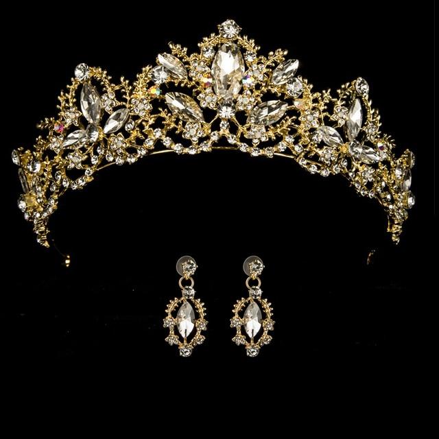 Wedding Crown Queen Bridal Tiara Bridal With Earring Luxury Rhinestone Headband Diadem Bride Hair Jewelry Ornaments 3