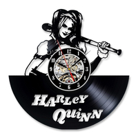 CD Record Clock Vinyl Record Hanging Wall Clock Harley Quinn Wall Decoration Creative and Antique Handmade Wall Art LED Clock