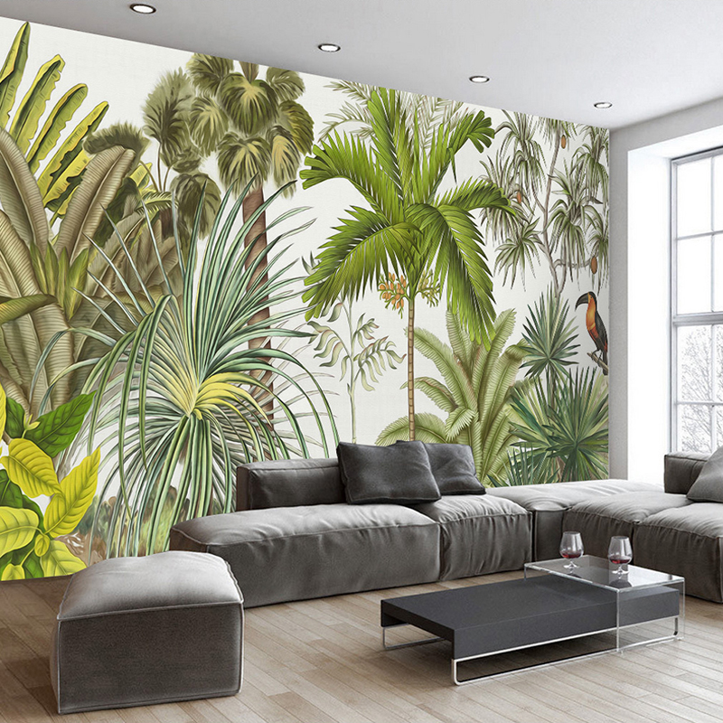 custom photo wallpaper printing hand painted southeast asia tropical rainforest living room tv