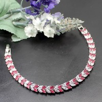 Hermosa Jewelry Charm Leaves Wheat 925 Sterling Silver red Bracelets 7 1/2 inch 19cm BK 381