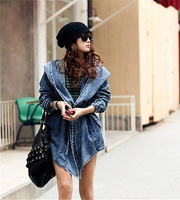 Fashion Women Lady Denim Trench Coat Hoodie Hooded Outerwear Jean Cool