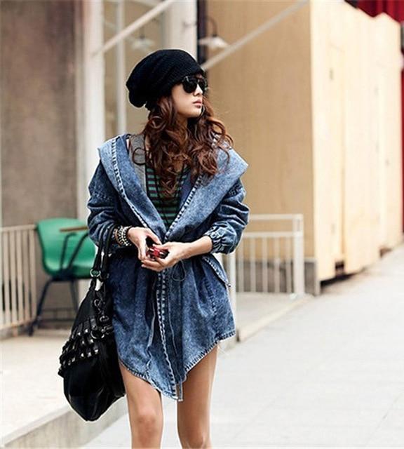 Aliexpress.com : Buy Vintage Dark Blue Denim Jean Hooded Jackets ...