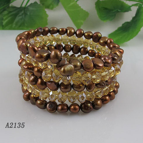 Unique Pearls jewellery Store,5Rows Gold Crystal Beads Natural Brown Freshwater Pearl Bracelet,Fashion Woman Party JewelleryUnique Pearls jewellery Store,5Rows Gold Crystal Beads Natural Brown Freshwater Pearl Bracelet,Fashion Woman Party Jewellery