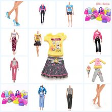 2019 New 1 Set Tops Pants Skirt For Doll Crystal Shoes Various Bags For 11 Inch Dolls Gift For Girls Pretend Toy For Kids(China)