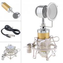 Microfone condensador bm 8000 de estúdio, com suporte de tomada de 3.5mm e diafragma grande banhado a ouro