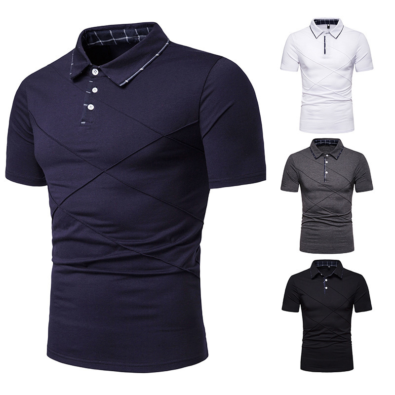 Summer Male   Polo   Shirt Button Solid Color Men   Polo   Shirt Turn-Down Collar Men's   Polo   Short Sleeve