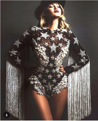 Gray Tassel Crystals Stars Bodysuit Women Stage Dance Fringes Leotard Nightclub Party Female Singer Costume Celebrate Outfit
