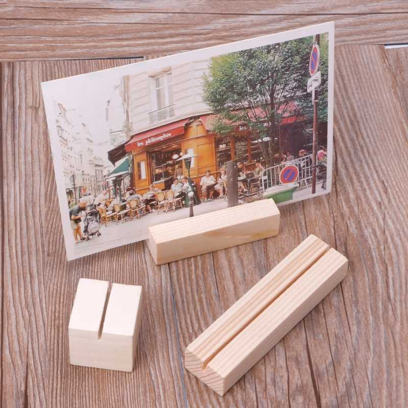 Natural Wood Photo Holder Memo Clips Business Card Holder Clamps Stand Card Desktop Message