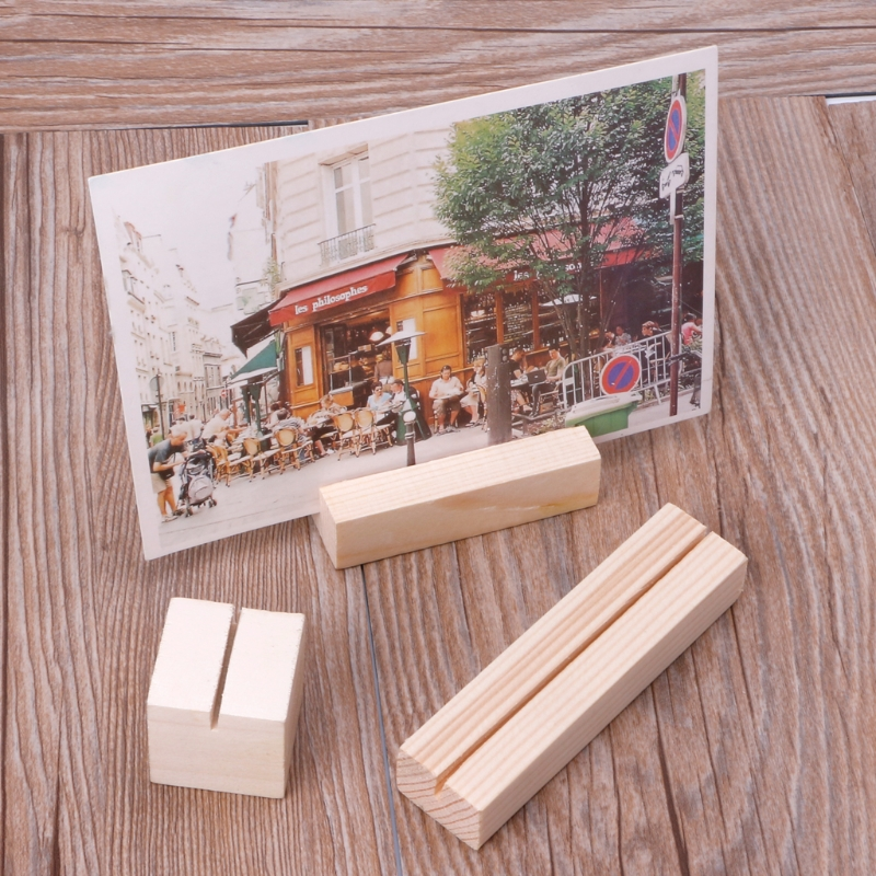 Straight/Bevel Natural Wood Photo Holder Memo Clips Business Card Holder Clamps Stand Card Desktop Message Crafts 1pc