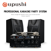 Oupush Home Theater Family Karaoke System AV760+KB350 Professional Power Amplifier Big Speakers UHF Wireless Handheld Microphone