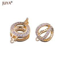 Clasp for beads handmade jewellery Findings Micro Pave Zircon Rhinestone Pearl Clasps For Pearls Necklace Jewelry Making