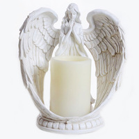 Resin Crafts Modern Home Decoration Creative Prayer Angel Electronic Candle Holder Figurines Ornaments Birthday Gifts