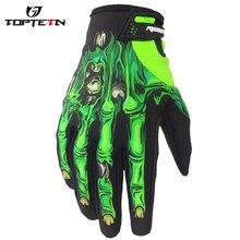 TOPTETN Otudoor Racing Bicycle Motorcycle Knight Flower Skeleton Printed Hand Gloves 3d Ghost Skeleton skull Bone Gloves New