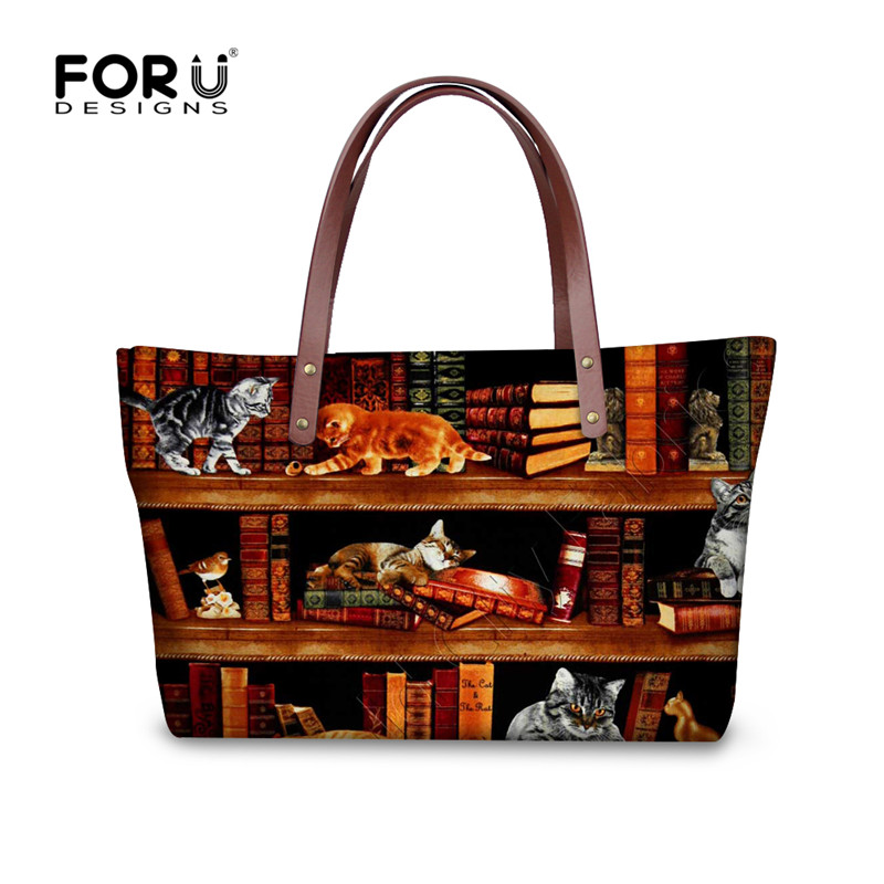 FORUDESIGNS Retro Vintage Women Totes Cross-body Bags Cute Book Shelf Sleepy Kitty Cat P ...
