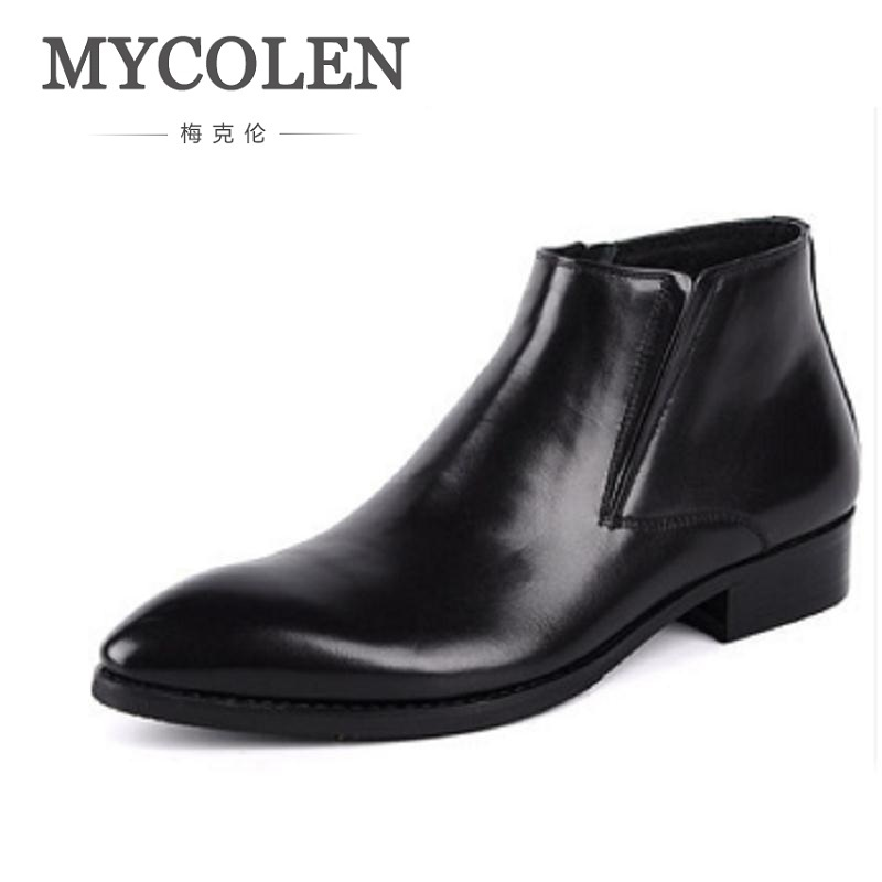 MYCOLEN Autumn Winter Mens Genuine Leather Boots Pointed Toe Zipper Ankle Boots Height Increase Career Men Chelsea Boots Shoes mycolen spring autumn men genuine leather chelsea boots vintage pointed toe ankle outdoor boots wear resistant male shoes